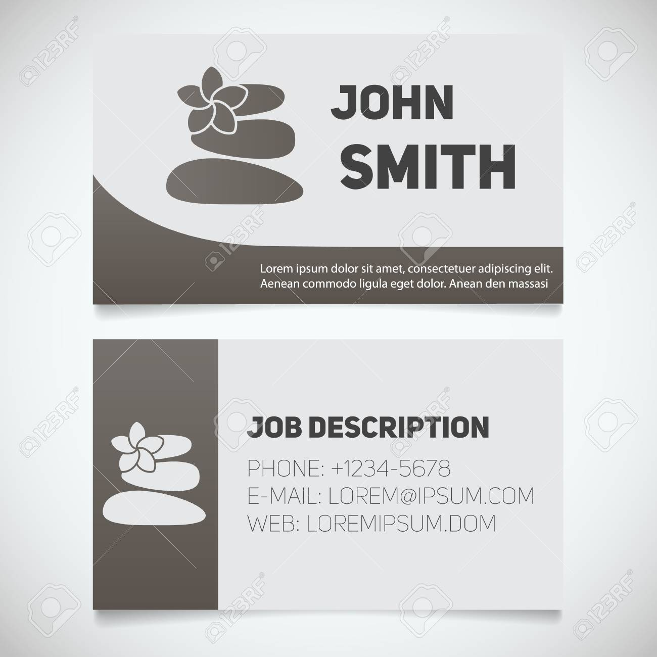 Business Card Print Template With Stones For Massage Logo. Manager ...