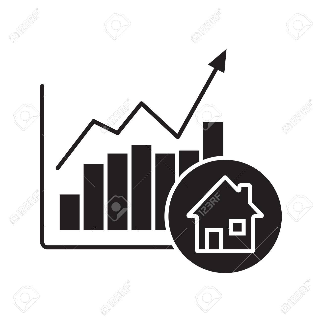 Real estate market growth chart glyph icon silhouette symbol real estate market growth chart glyph icon silhouette symbol houses price rise negative biocorpaavc Image collections