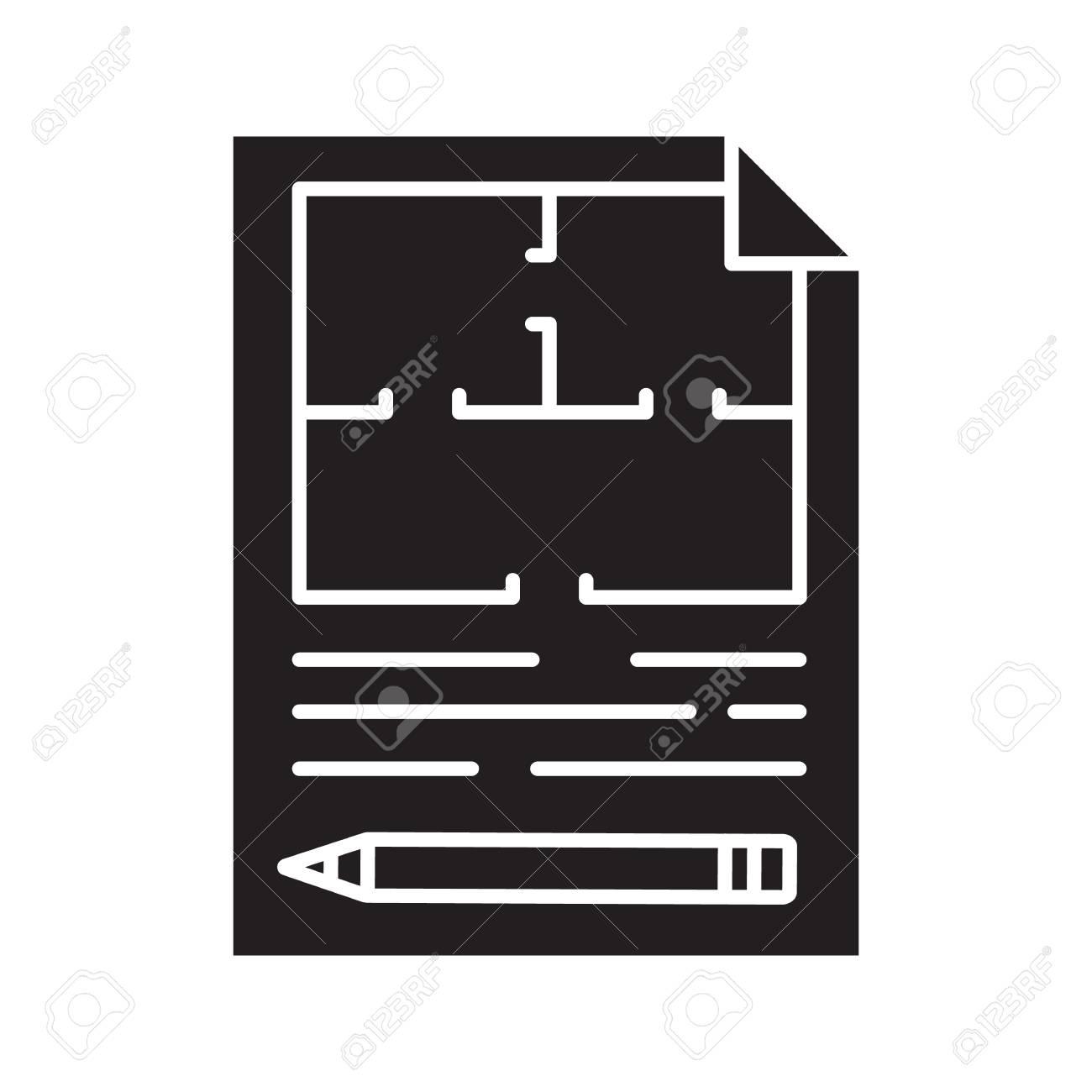 Floor plan flat blueprint with pencil glyph icon apartment floor plan flat blueprint with pencil glyph icon apartment layout silhouette symbol house malvernweather Images