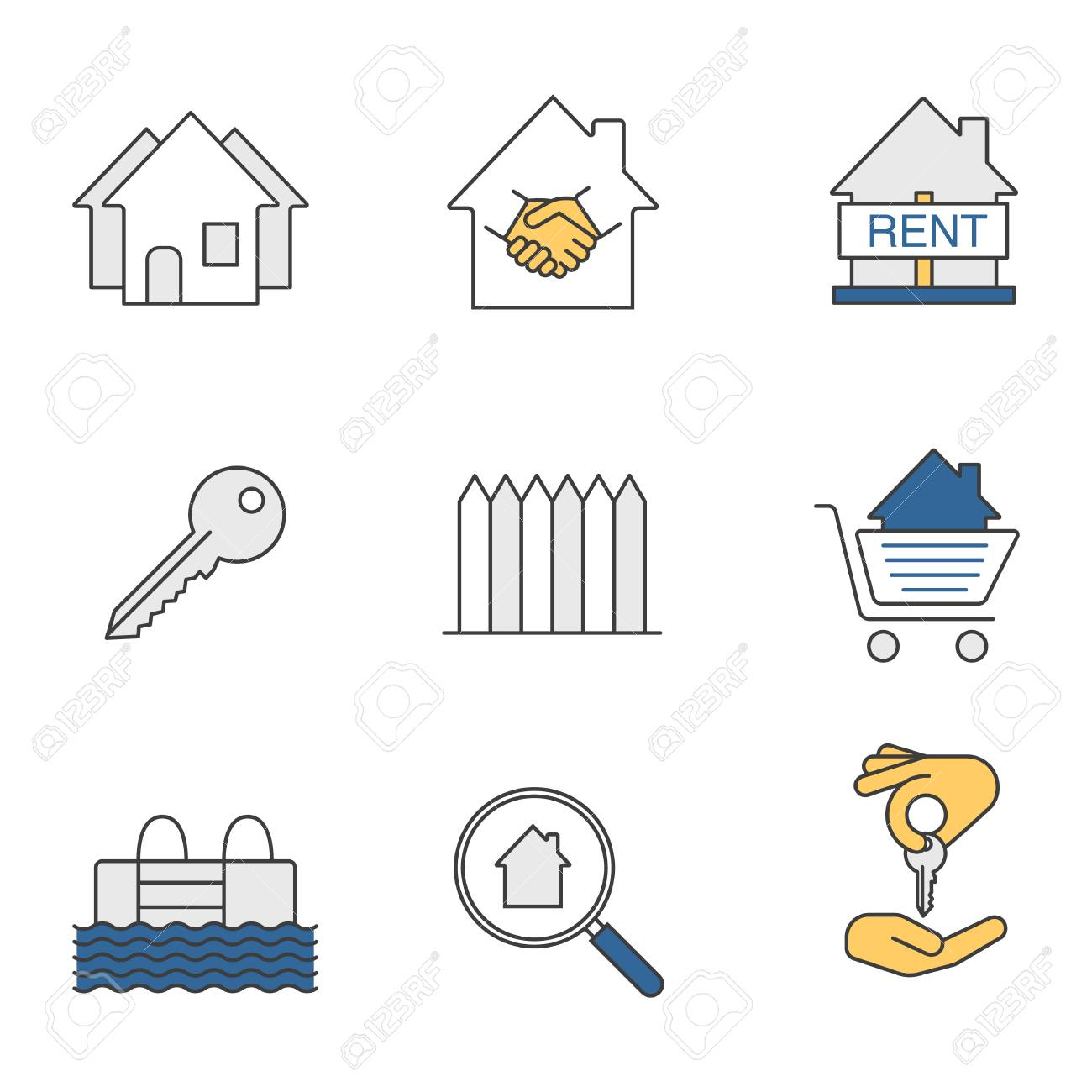 Real estate market color icons set  Neighborhood, house for rent,