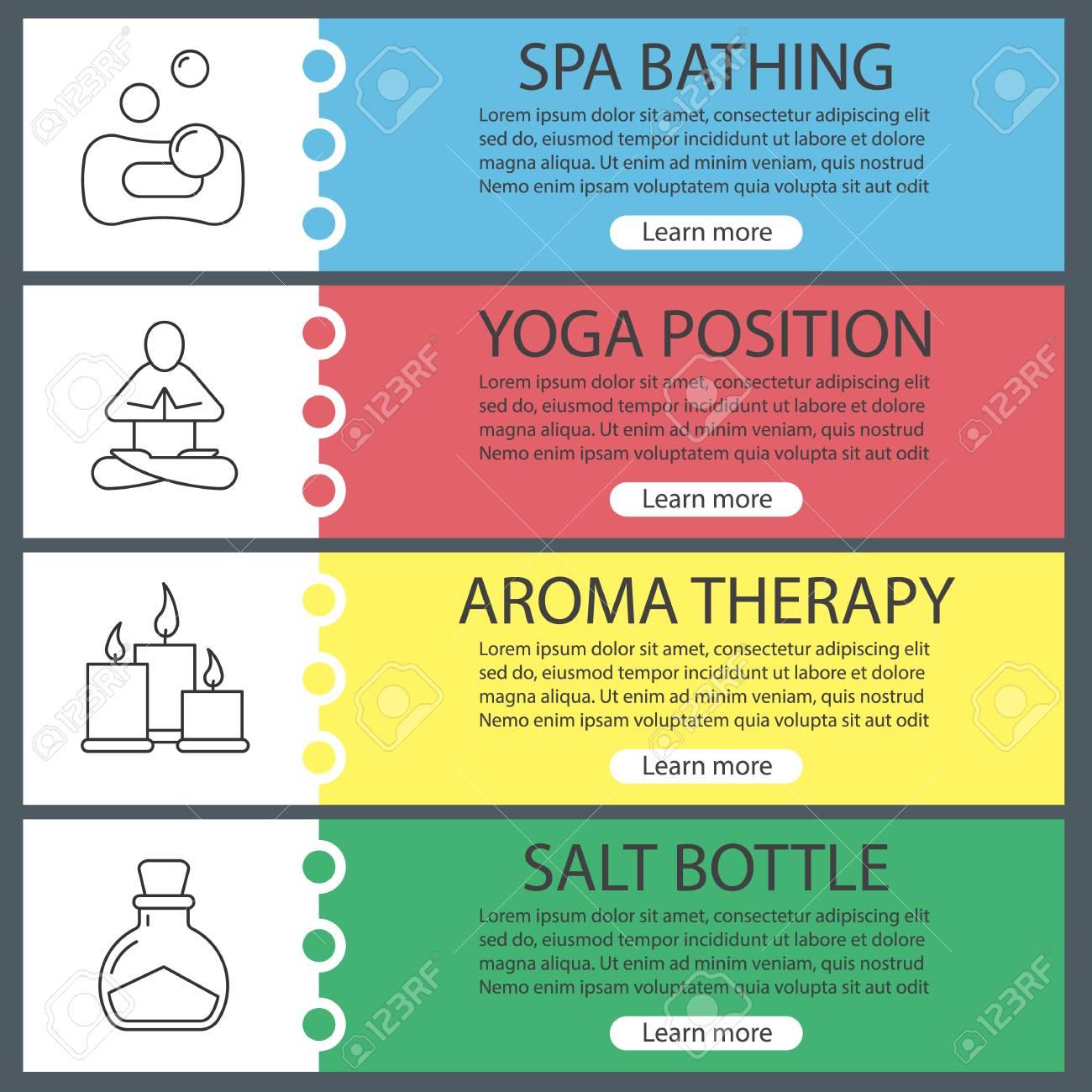 spa salon web banner templates set bubbles with sponge yoga