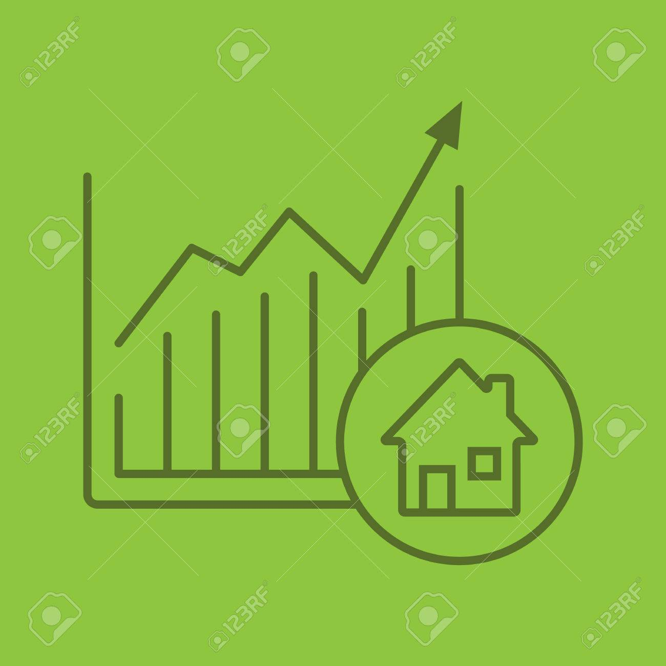 Real Estate Market Growth Chart Color Linear Icon Houses Price
