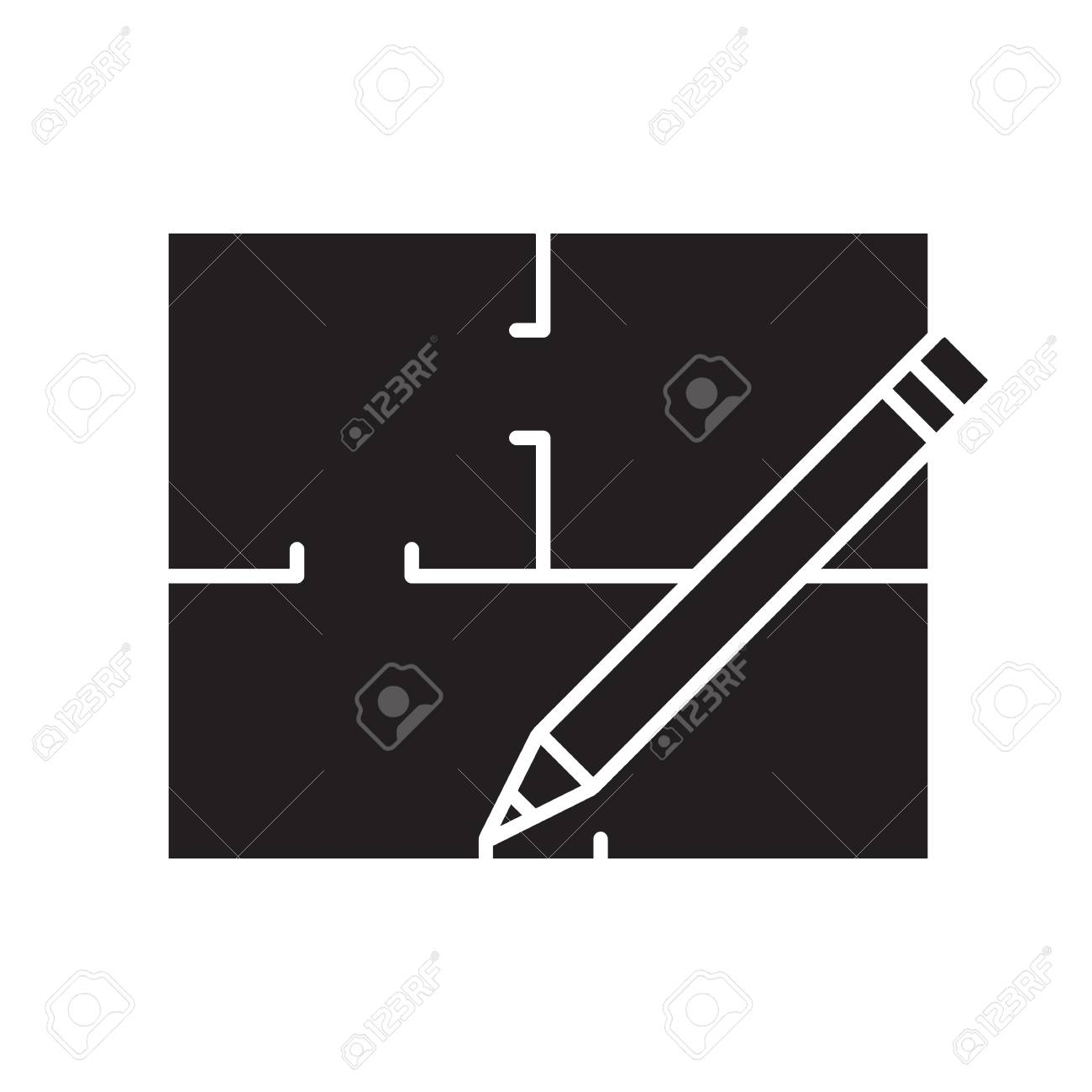 Floor plan flat blueprint with pencil glyph icon apartment floor plan flat blueprint with pencil glyph icon apartment layout silhouette symbol house malvernweather Image collections