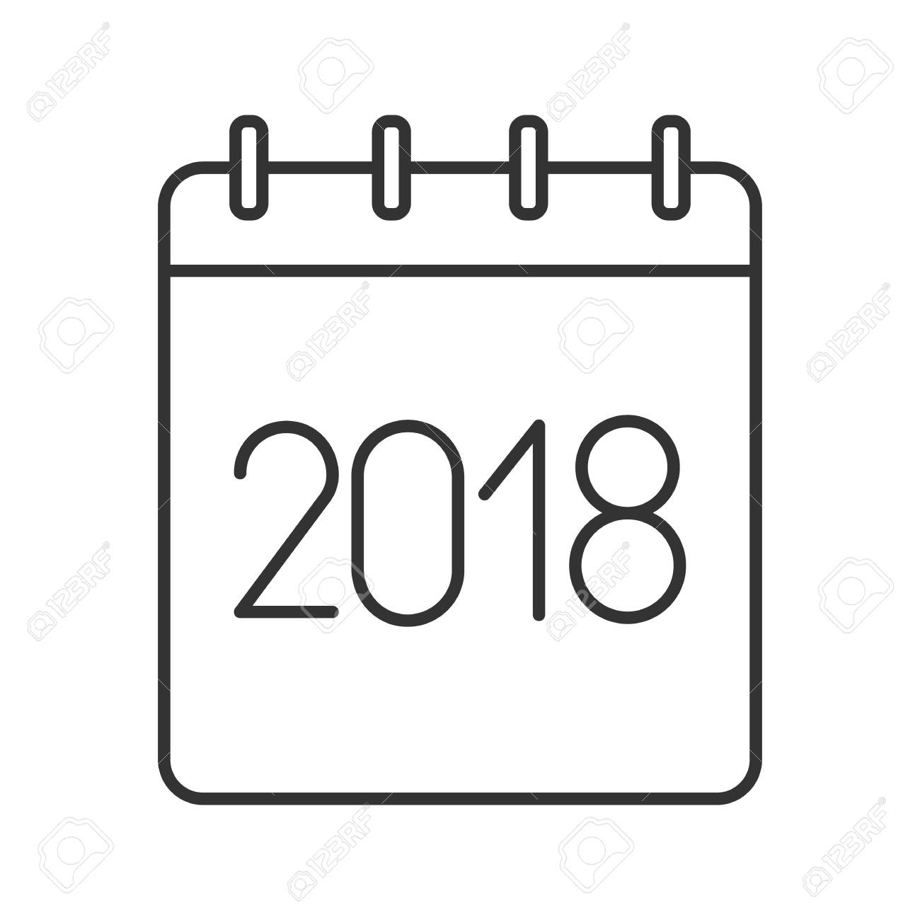 2018 annual calendar linear icon thin line illustration yearly