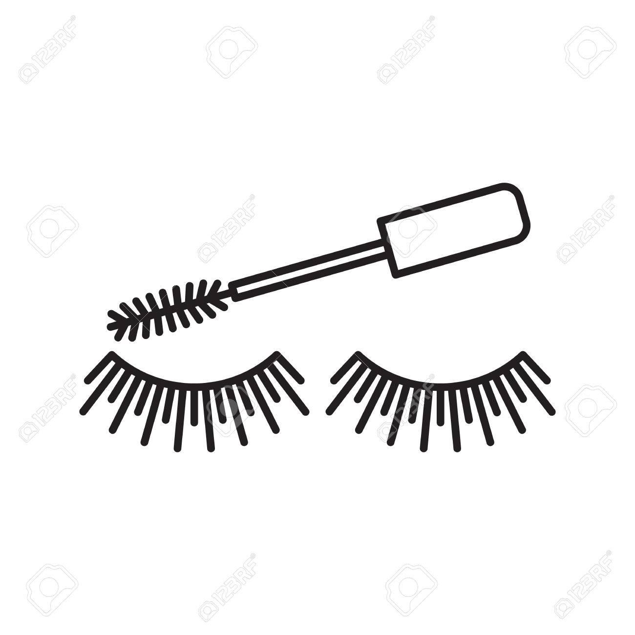 Cosmetic. Women goods. Eyelashes. Thin line illustration.