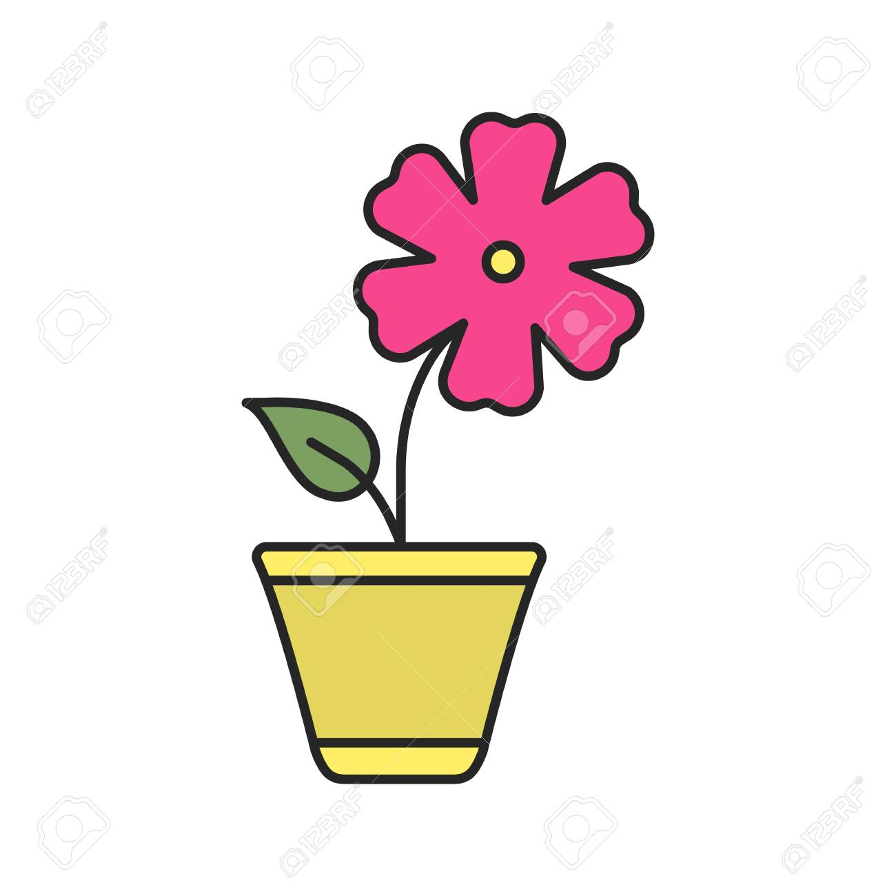 Hibiscus Flower Color Icon Isolated Vector Illustration Royalty