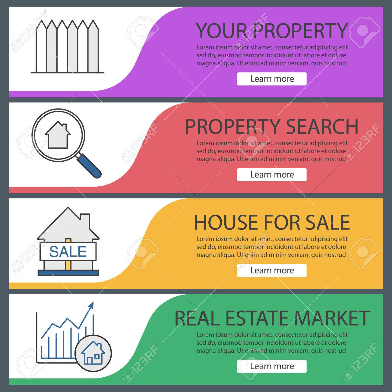 Real Estate Market Web Banner Templates Set Fence Property Royalty Free Cliparts Vectors And Stock Illustration Image 84523129