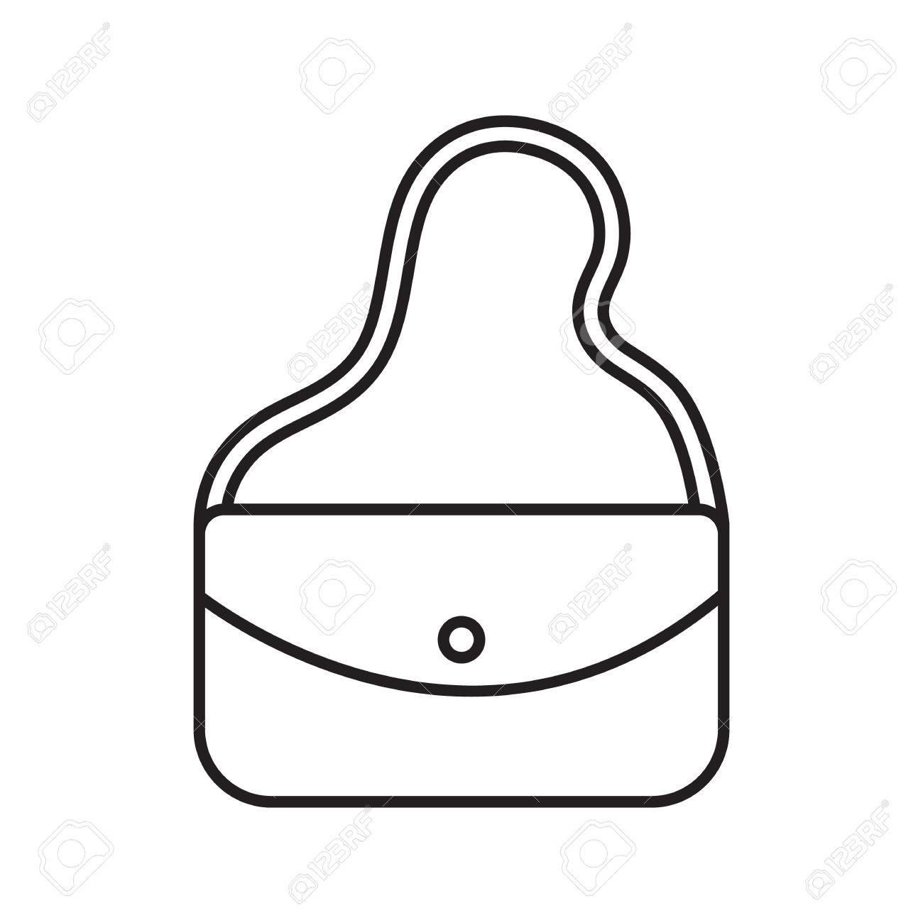 Lineare Ikone Der Frauen Handtasche. Kosmetiktasche. Dünne Linie ...