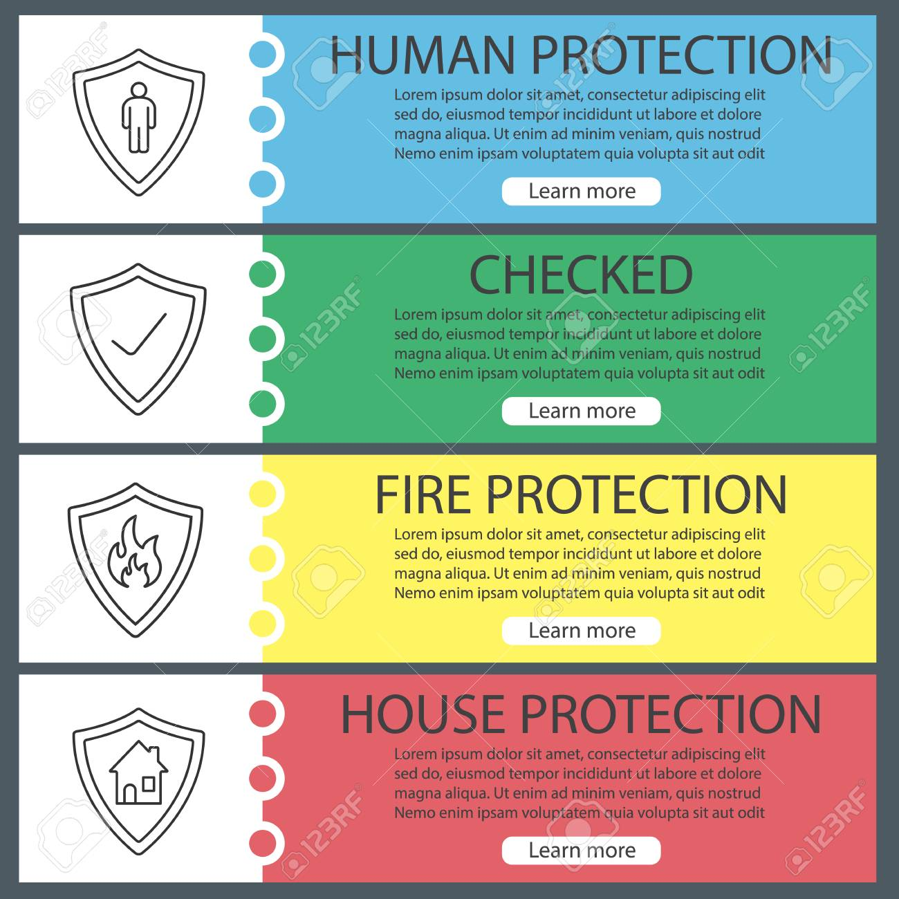 protection shields web banner templates set bodyguard firefighters