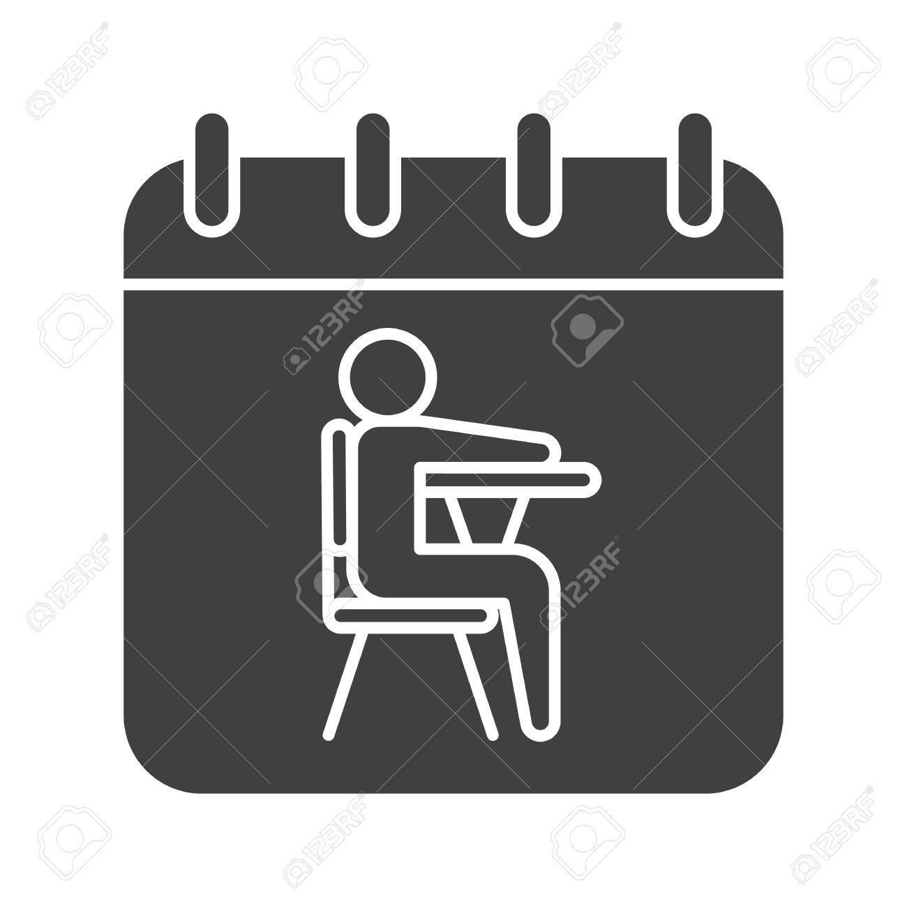 Simbolo De Calendario.Icona Del 1 Settembre Simbolo Della Silhouette Pagina Del Calendario Con Lo Studente Spazio Negativo Illustrazione Isolata Vettoriale
