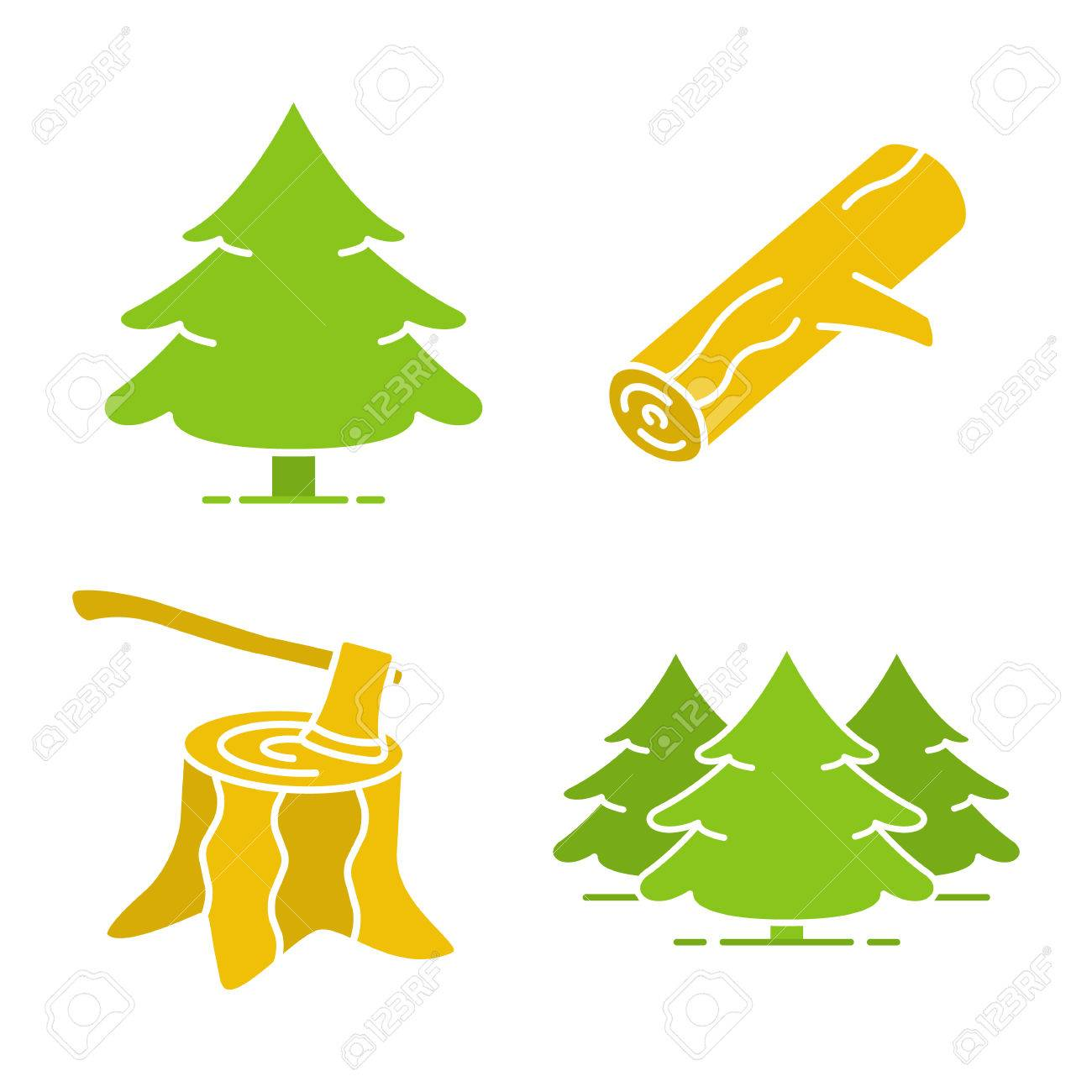 Forestry Glyph Color Icon Set. Fir Forest, Firewood, Stump With ...