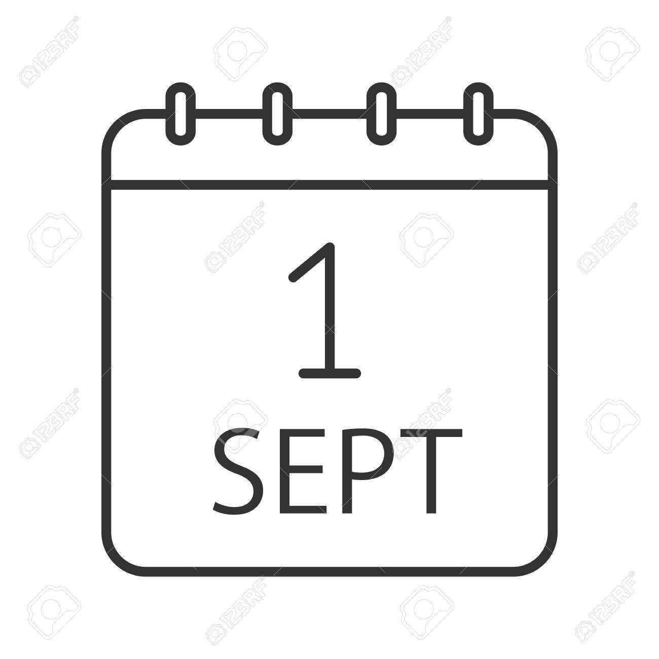 Calendario Dibujo Septiembre.Icono Lineal Del Dia Del Conocimiento Simbolo De Contorno De Vacaciones De Otono Calendario Primer Dia De Septiembre Ilustracion De Linea Delgada