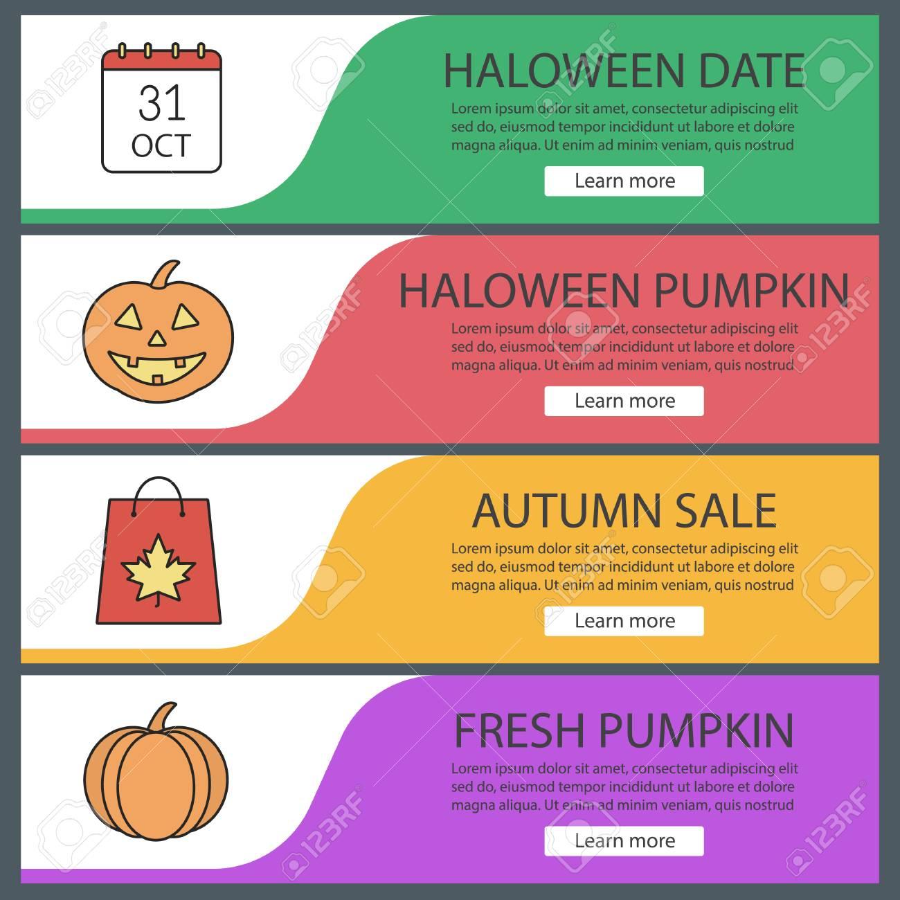 autumn season web banner templates set october 31 date halloween