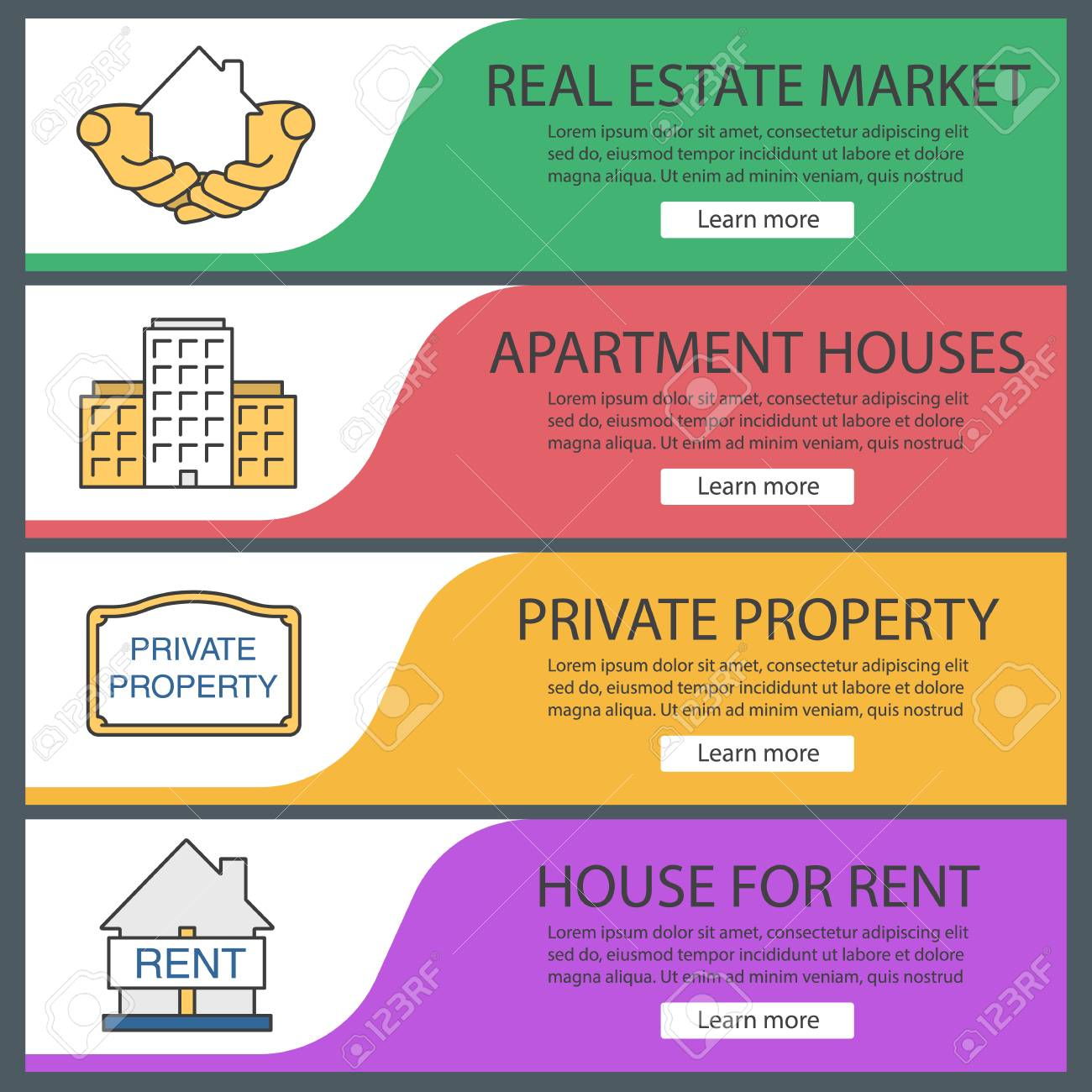 Real Estate Web Banner Templates Set. House In Hands, Multi-storey ...