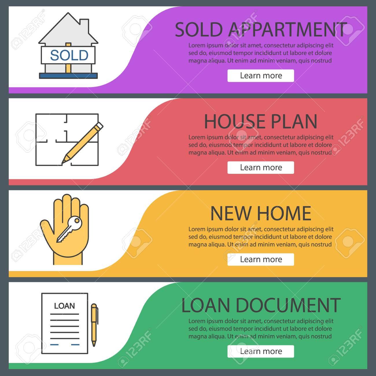 Real Estate Web Banner Templates Set Sold House Floor Plan