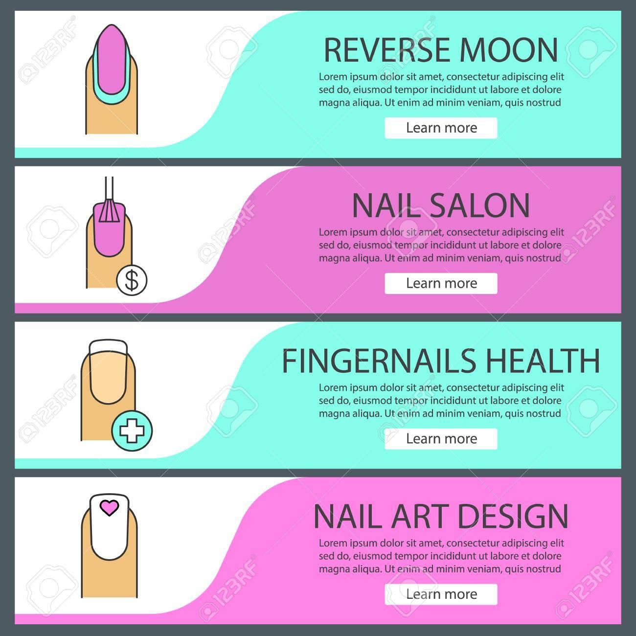 Manicure Web Banner Templates Set. Nail Polishing Price, Fingernails ...