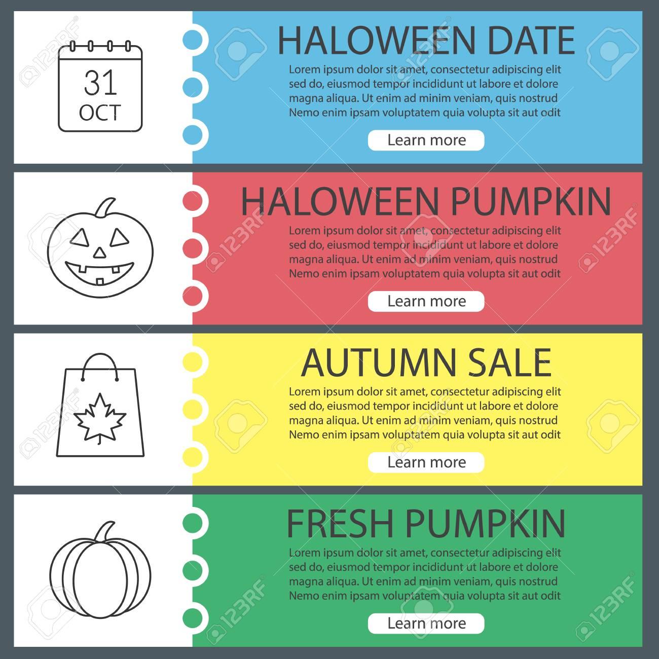 halloween web banner templates set october 31 calendar pumpkins