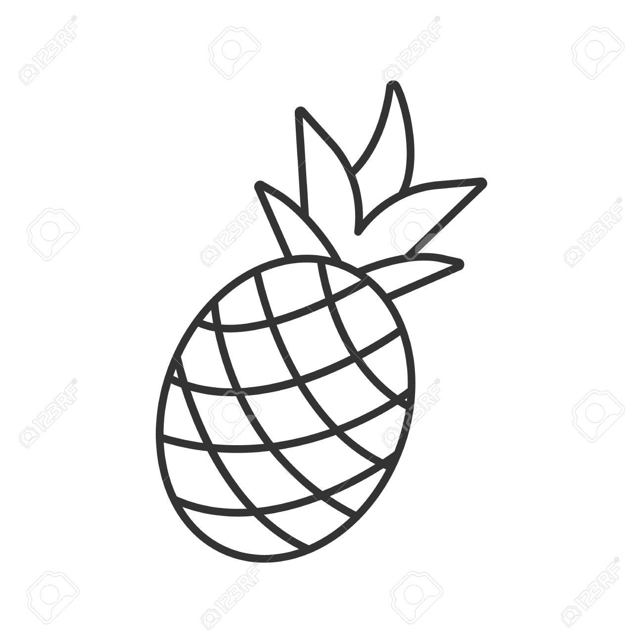 Pineapple Linear Icon Thin Line Illustration Ananas Contour