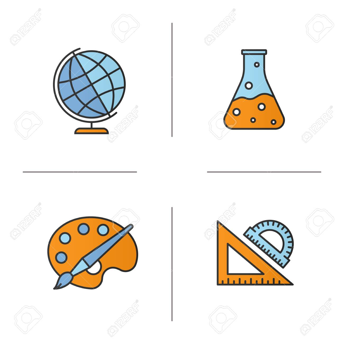 Education color icons set geography chemistry art geometry geography chemistry art geometry symbols school rulers biocorpaavc Choice Image