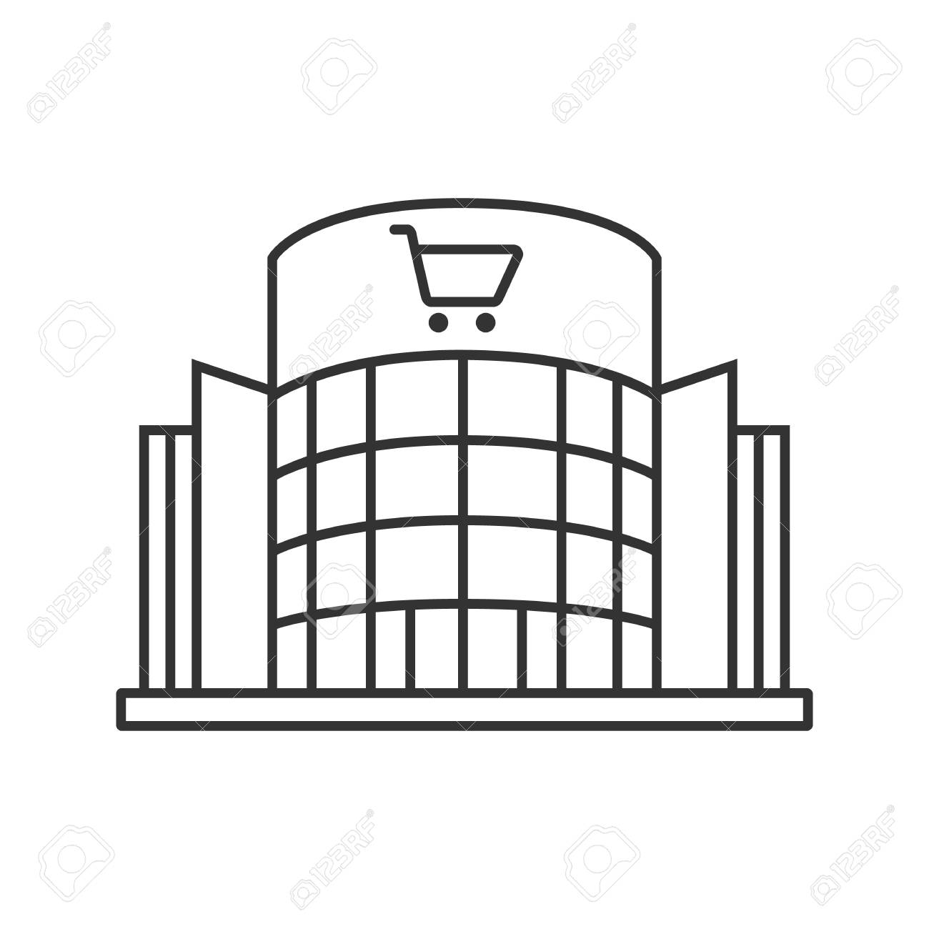 Shopping Centre Linear Icon Mall Building Thin Line Illustration Supermarket Contour Symbol