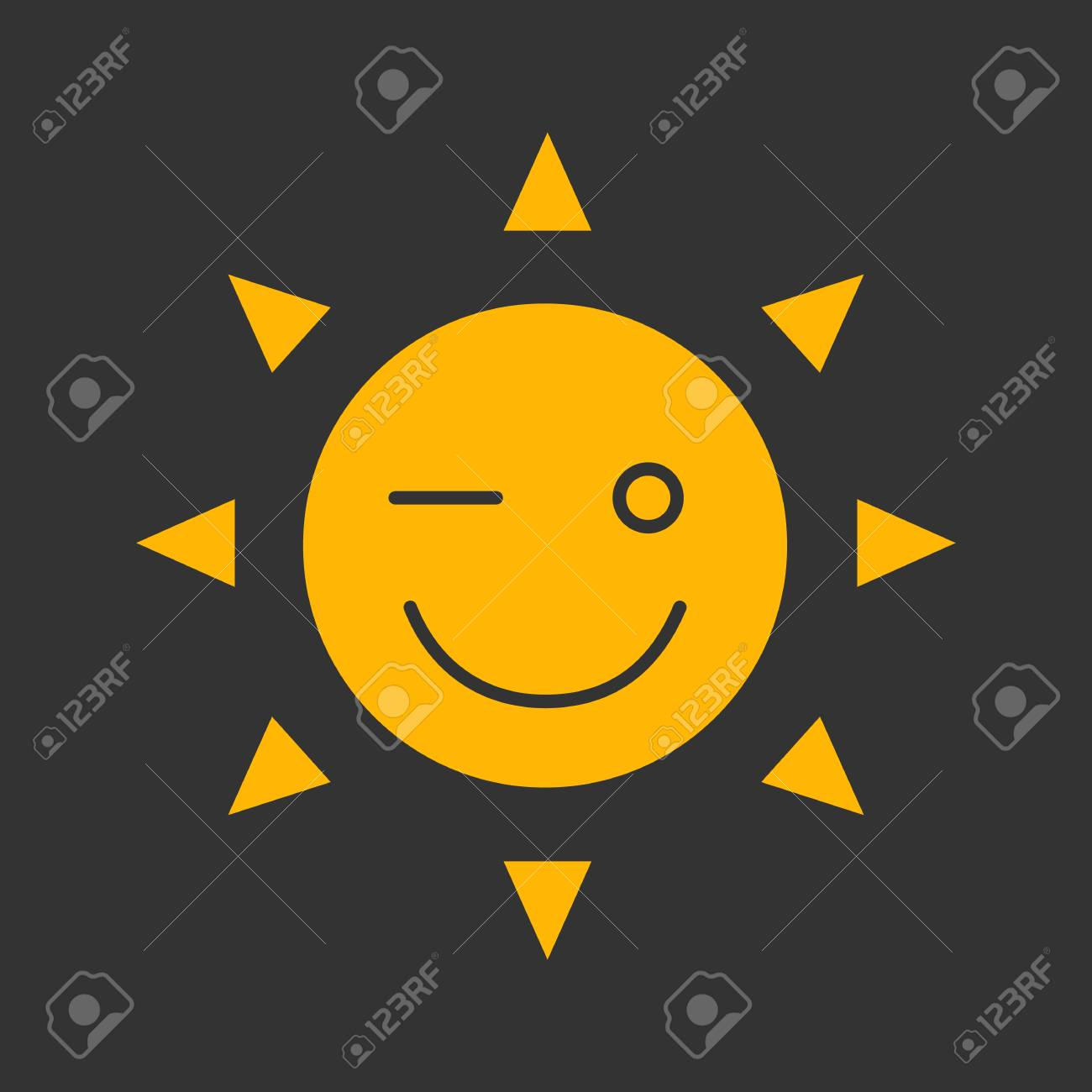 Winking Sun Smile Glyph Color Icon Good Mood Emoticon Happy