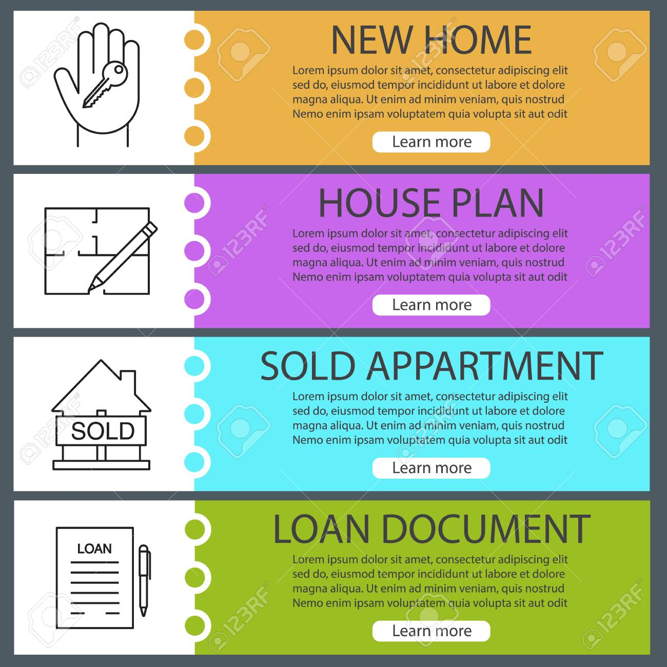 Real Estate Web Banner Templates Set Hand With Key Floor Plan Royalty Free Cliparts Vectors And Stock Illustration Image 87162106