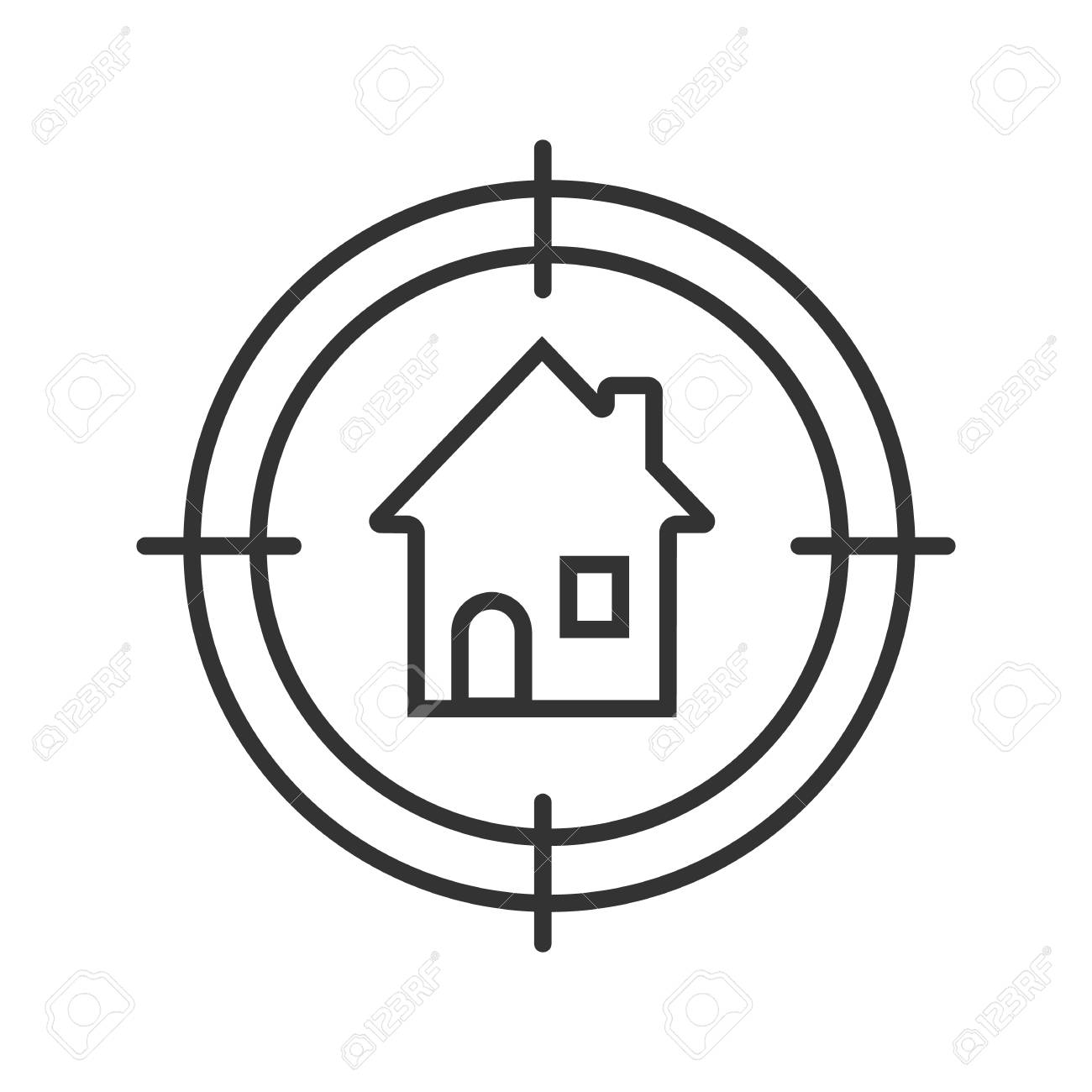 House Searching Linear Icon. Home Finder Thin Line Illustration. Contour  Symbol. House Hunt