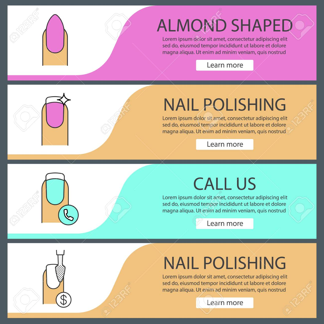 Manicure Web Banner Templates Set Almond Shaped Manicure Nail