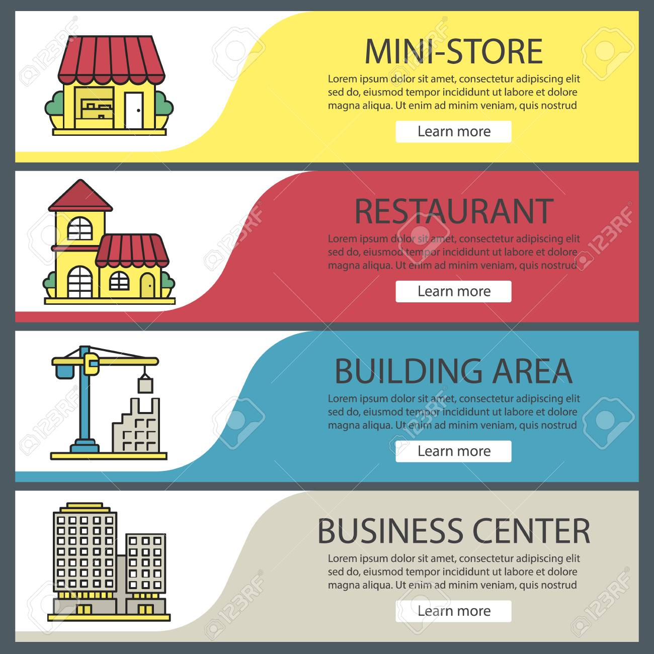city buildings web banner templates set shop restaurant tower