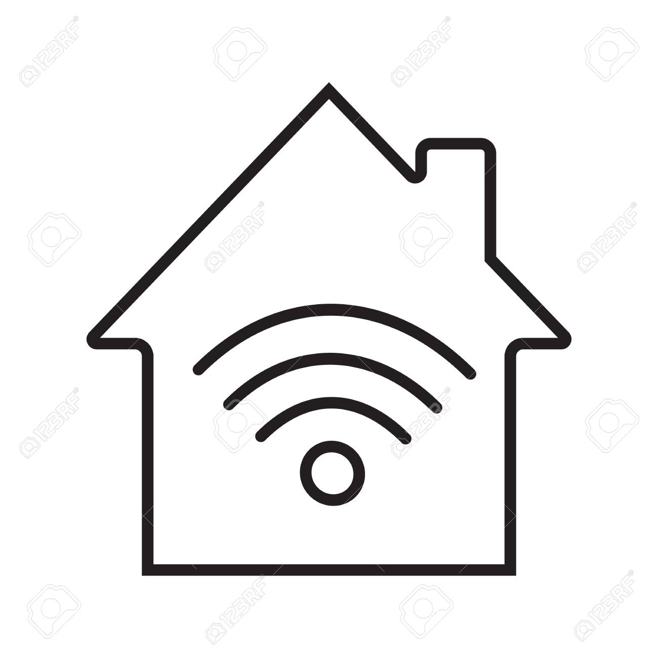 Home internet connection linear icon  Wi fi signal thin line