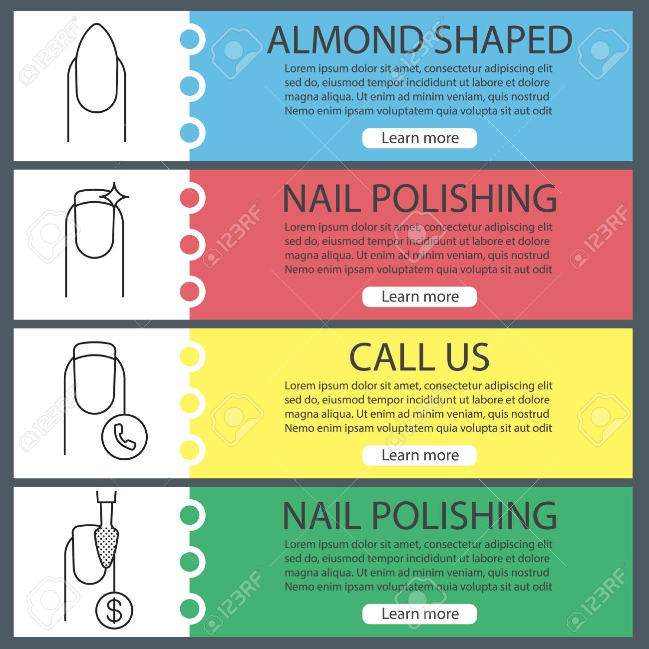 Manicure Web Banner Templates Set. Almond Shaped Manicure, Nail ...
