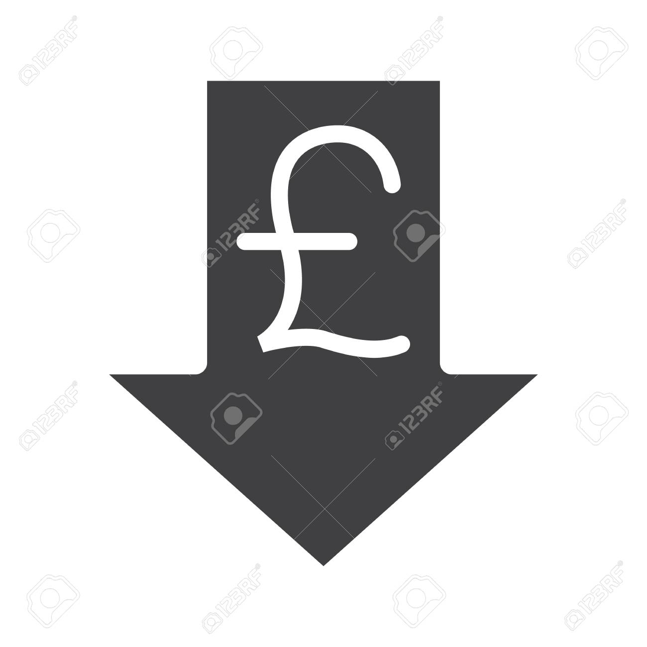 Down arrow text symbol image collections symbol and sign ideas pound rate falling glyph icon silhouette symbol great britain silhouette symbol great britain pound with down buycottarizona