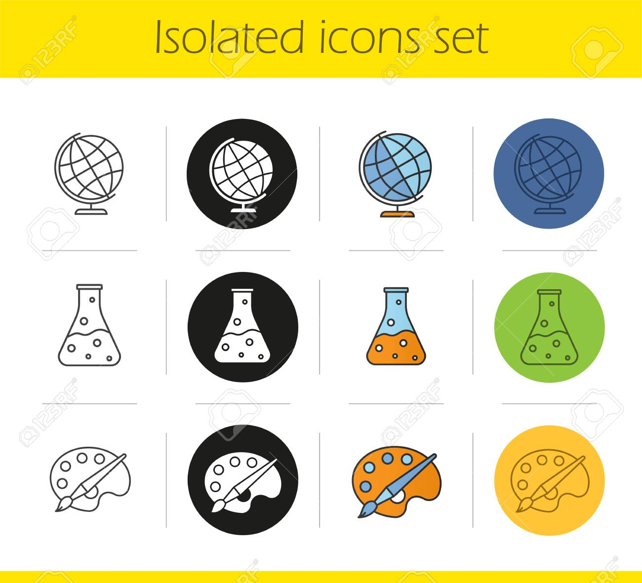 Education Icons Set Linear Black And Color Styles Geography