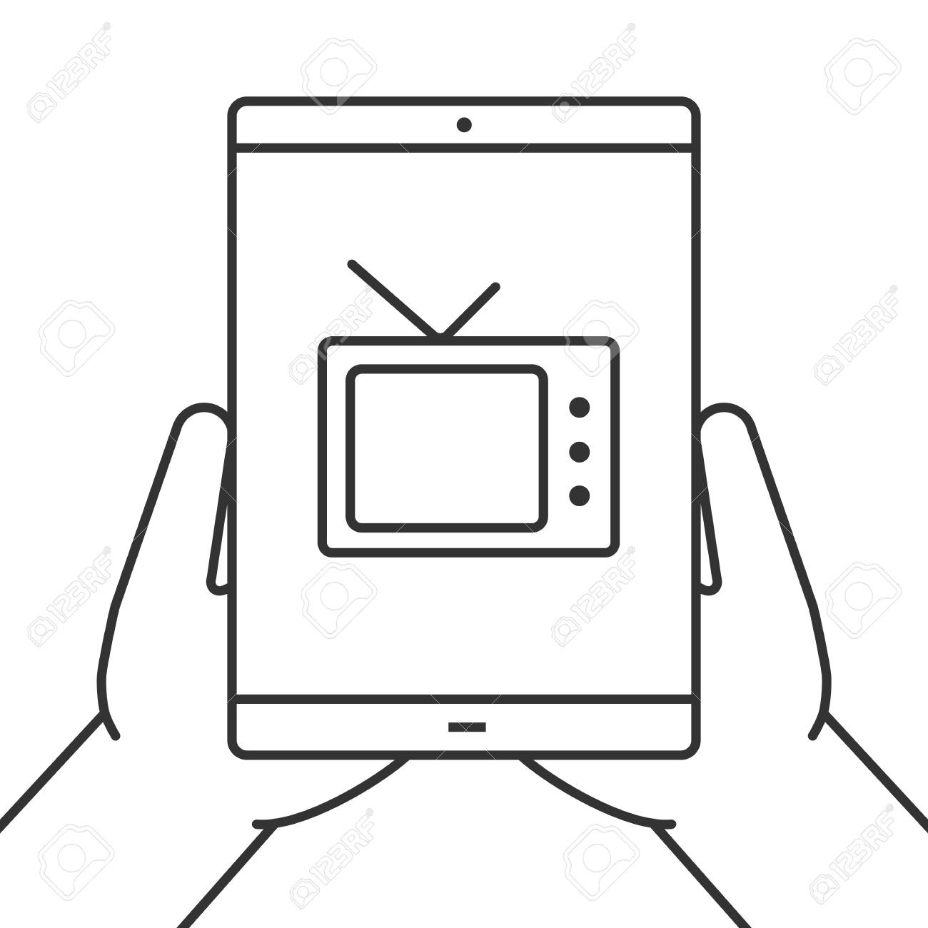 Hands Holding Tablet Computer Linear Icon Watching Tv Online