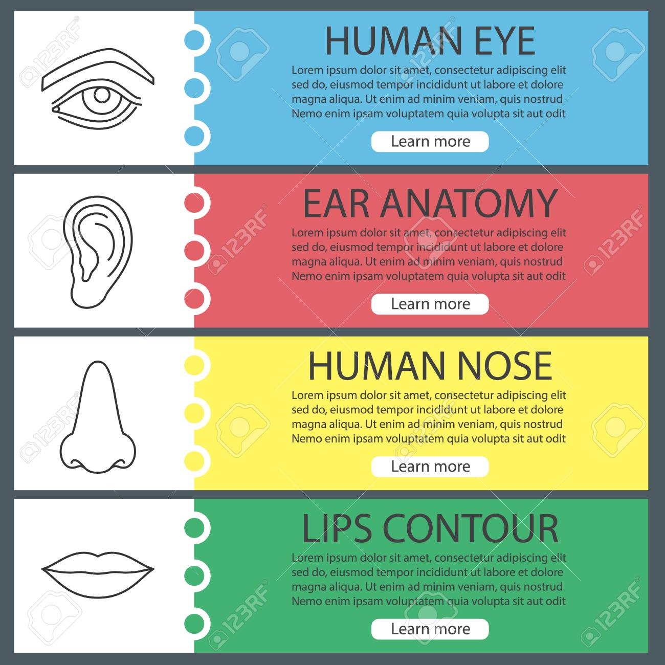 Human body parts web banner templates set eye ear nose lips human body parts web banner templates set eye ear nose lips maxwellsz