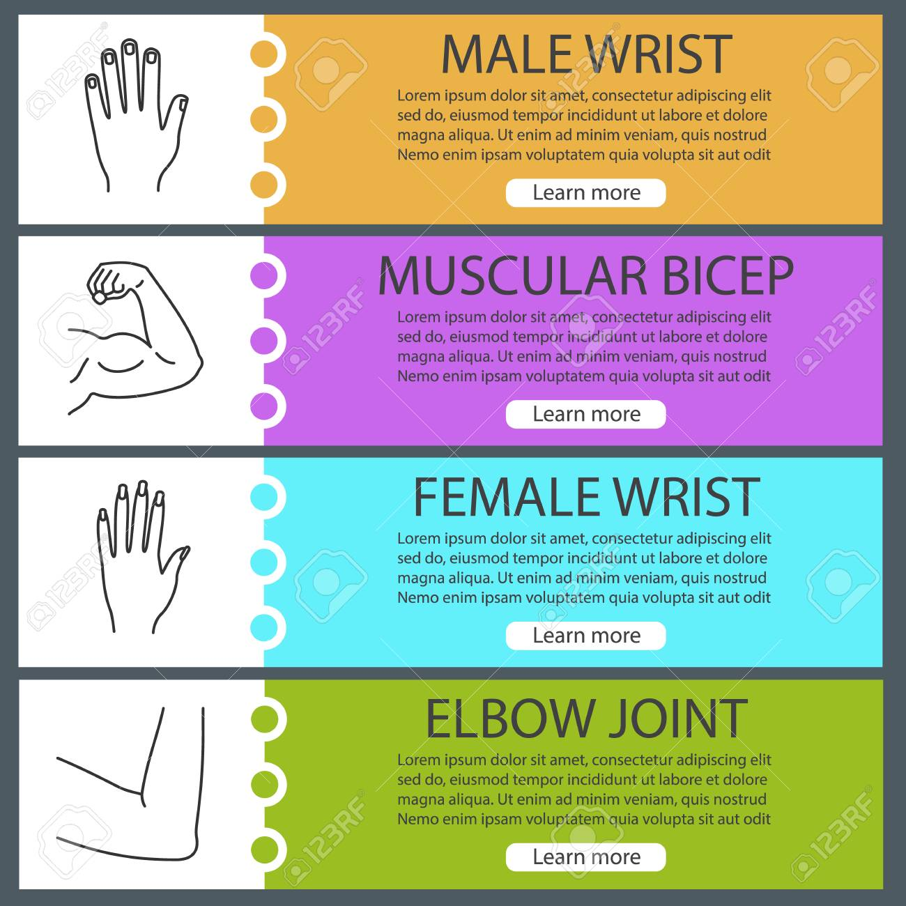 Body Parts Web Banner Templates Set Male And Female Hands Muscular