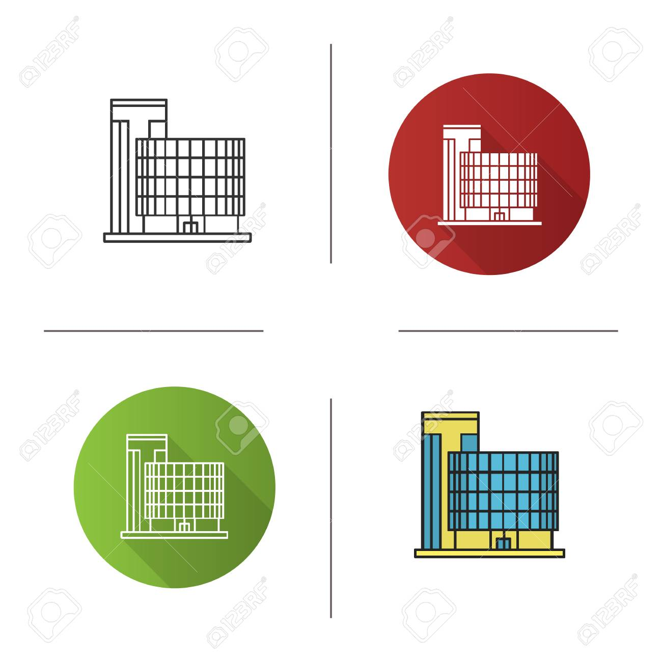 Office Building Icon Flat Design Linear And Color Styles Isolated