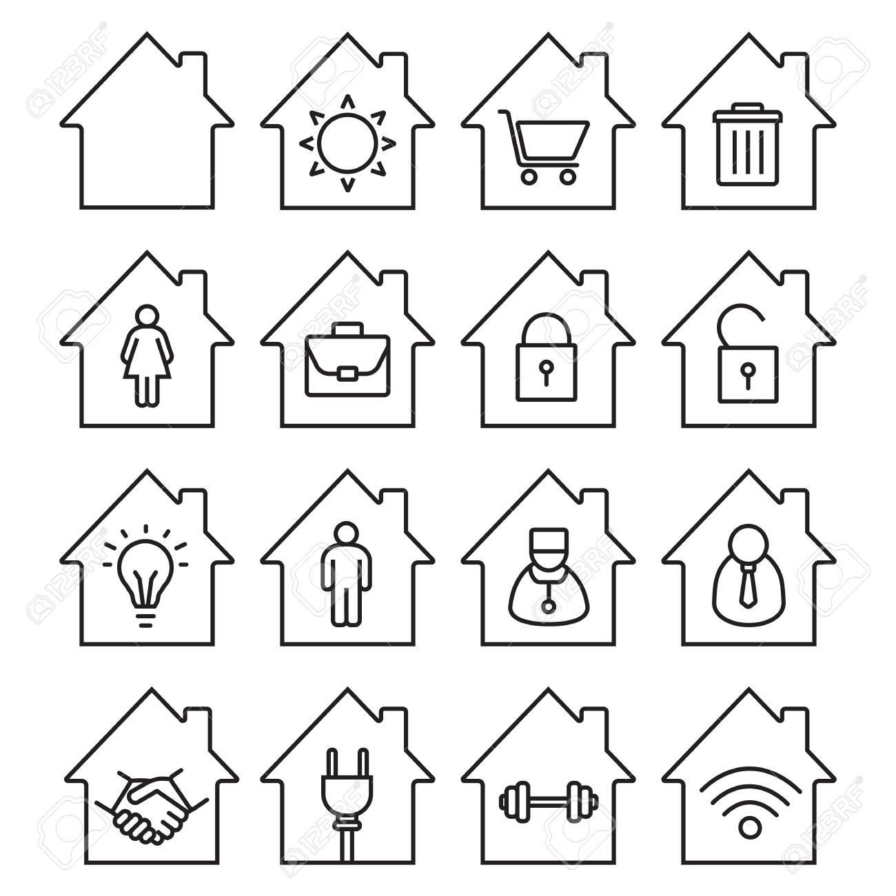 Houses Linear Icons Set. Thin Line Contour Symbols. Home Buildings ...