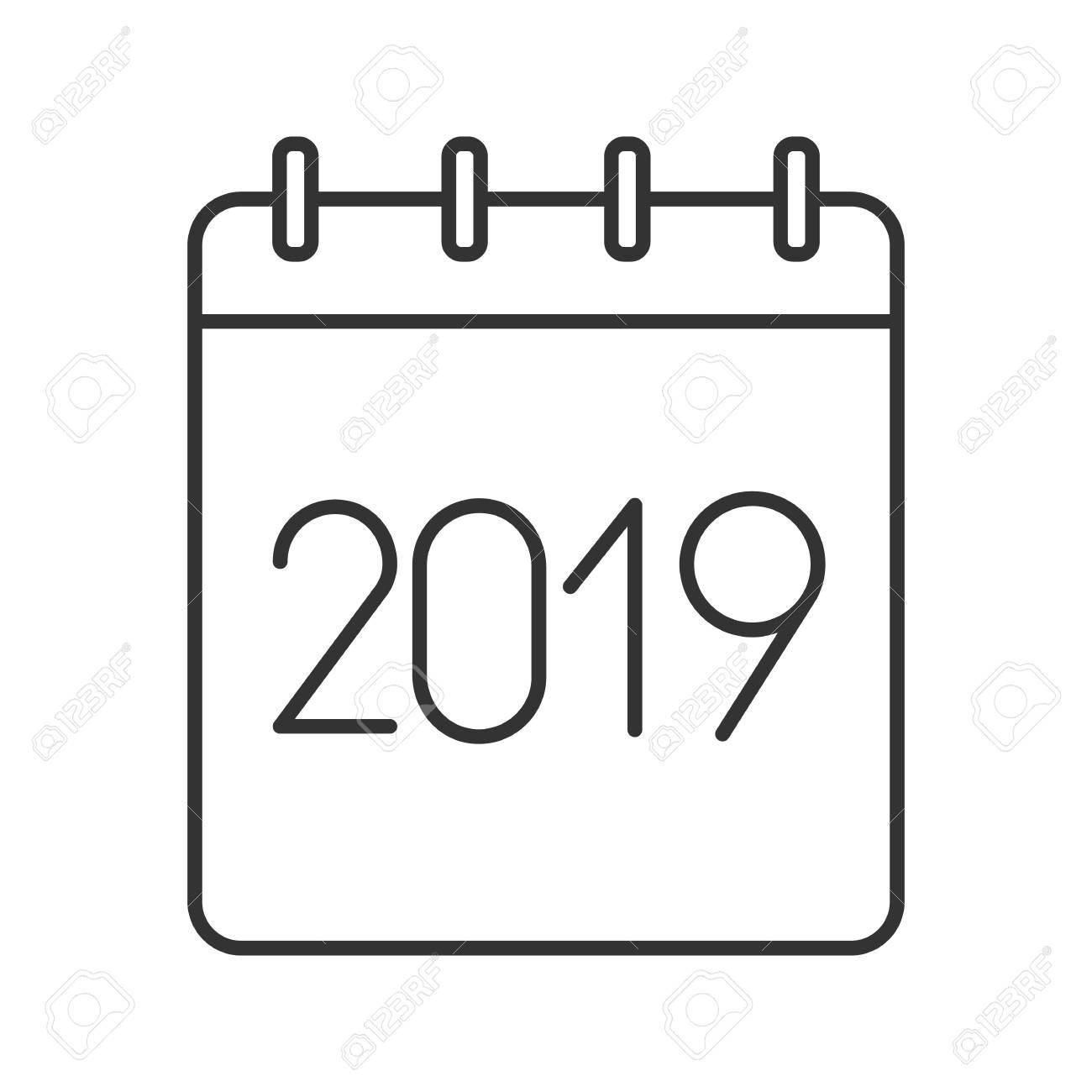 Calendario Dibujo 2019.2019 Calendario Anual Icono Lineal Ilustracion De Linea Delgada Calendario Anual Con Signo De 2019 Simbolo De Contorno Dibujo De Contorno Aislado