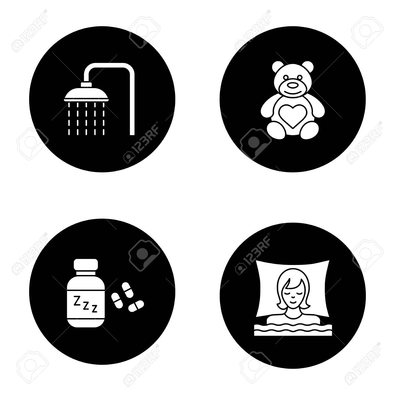 Sleeping Accessories Glyph Icons Set. Shower Faucet With Flowing ...
