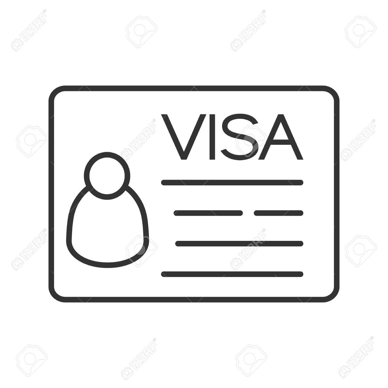 Travel Visa Linear Icon Thin Line Illustration Contour Symbol