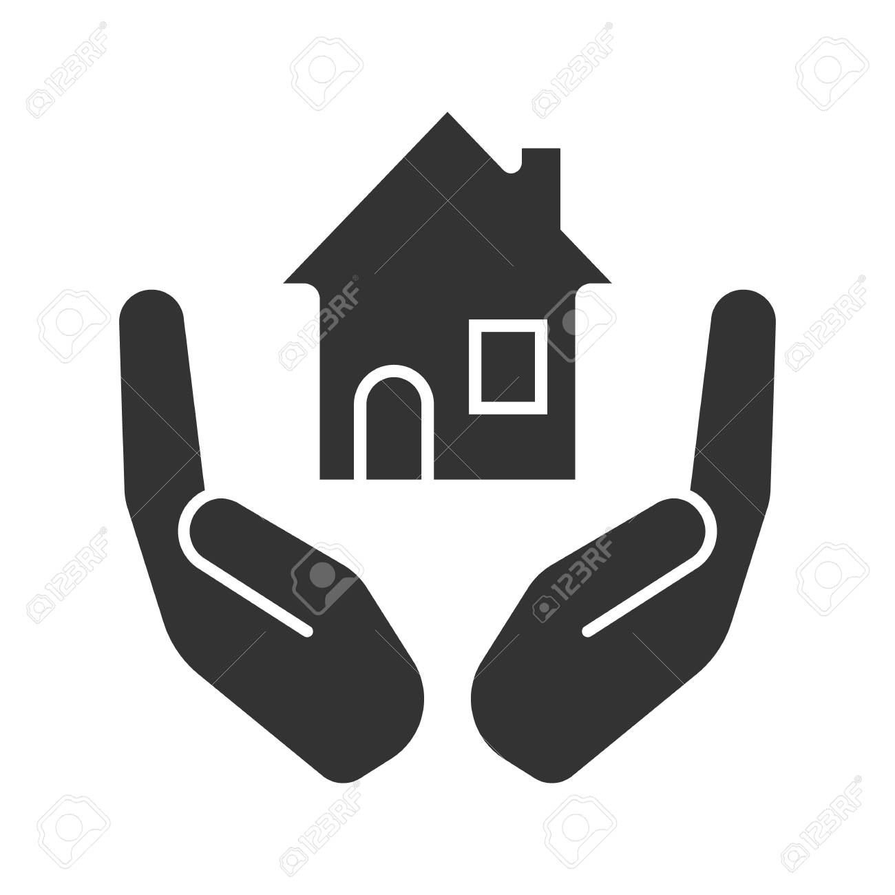 Open palms with house glyph icon  Real estate insurance  Silhouette