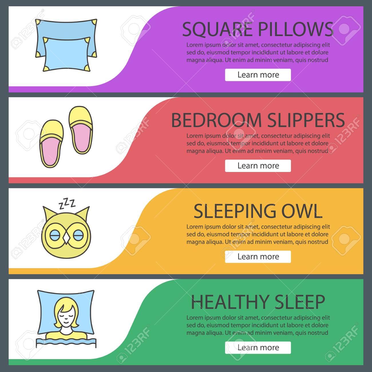 Dormir Accesorios Web Banners Plantillas Conjunto. Almohadas, Mujer ...