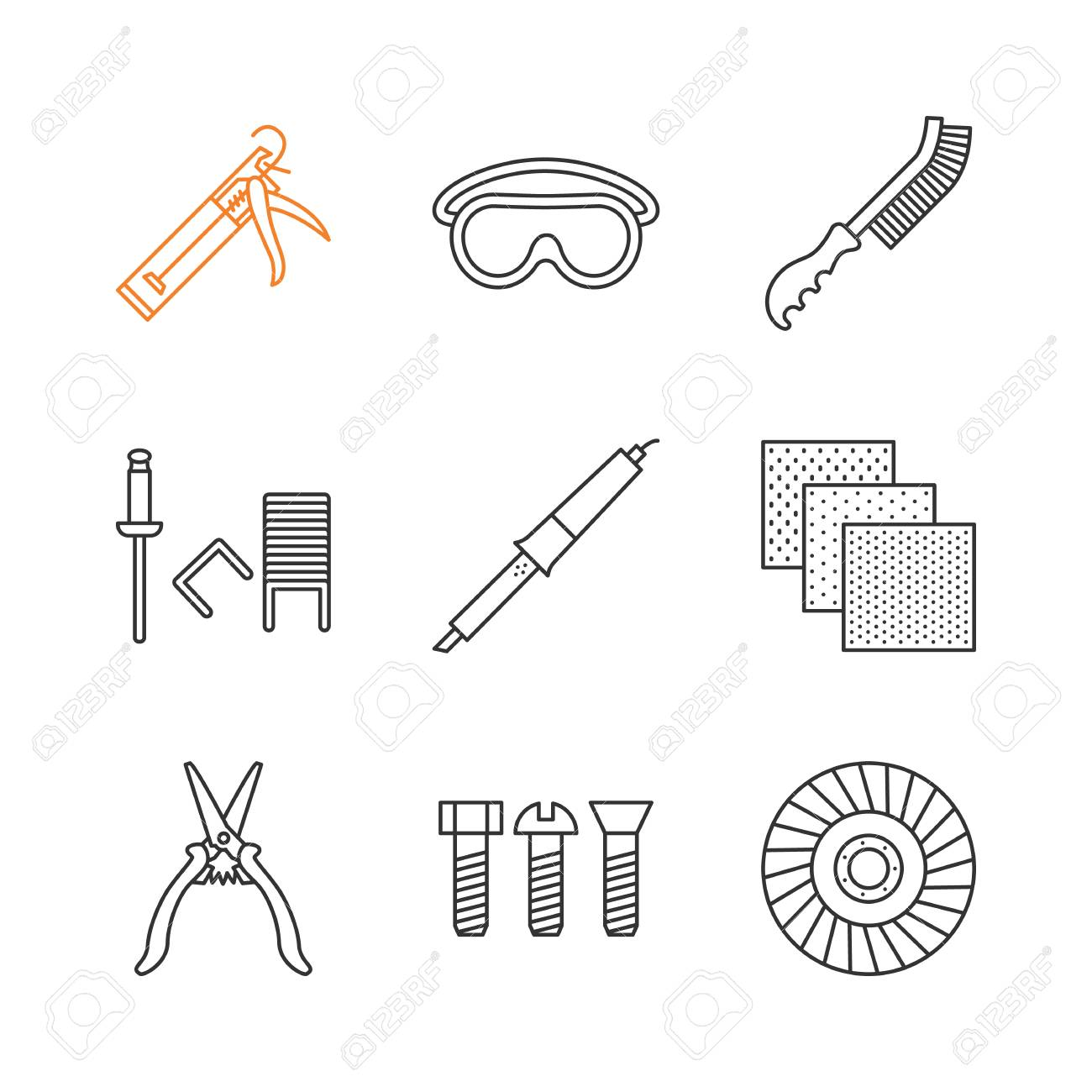 construction tools linear icons set caulking gun goggles wire rh 123rf com Wire Diagram Template Wire Diagram Template