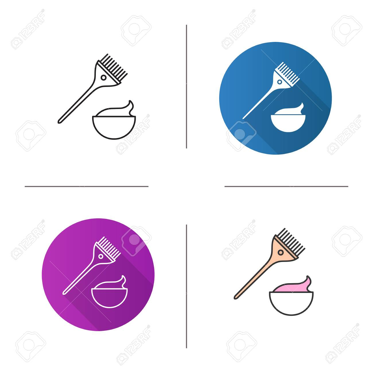 Hair Dyeing Kit Icon Flat Design Linear And Color Styles Brush