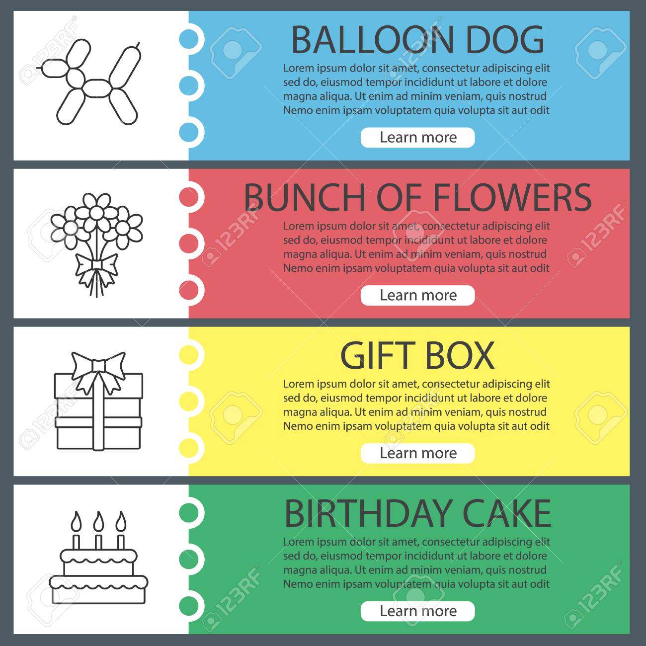 Vector Headers Design Concepts Party Accessories Web Banner Templates Set Balloon Dog Bunch Of Flowers Gift Box