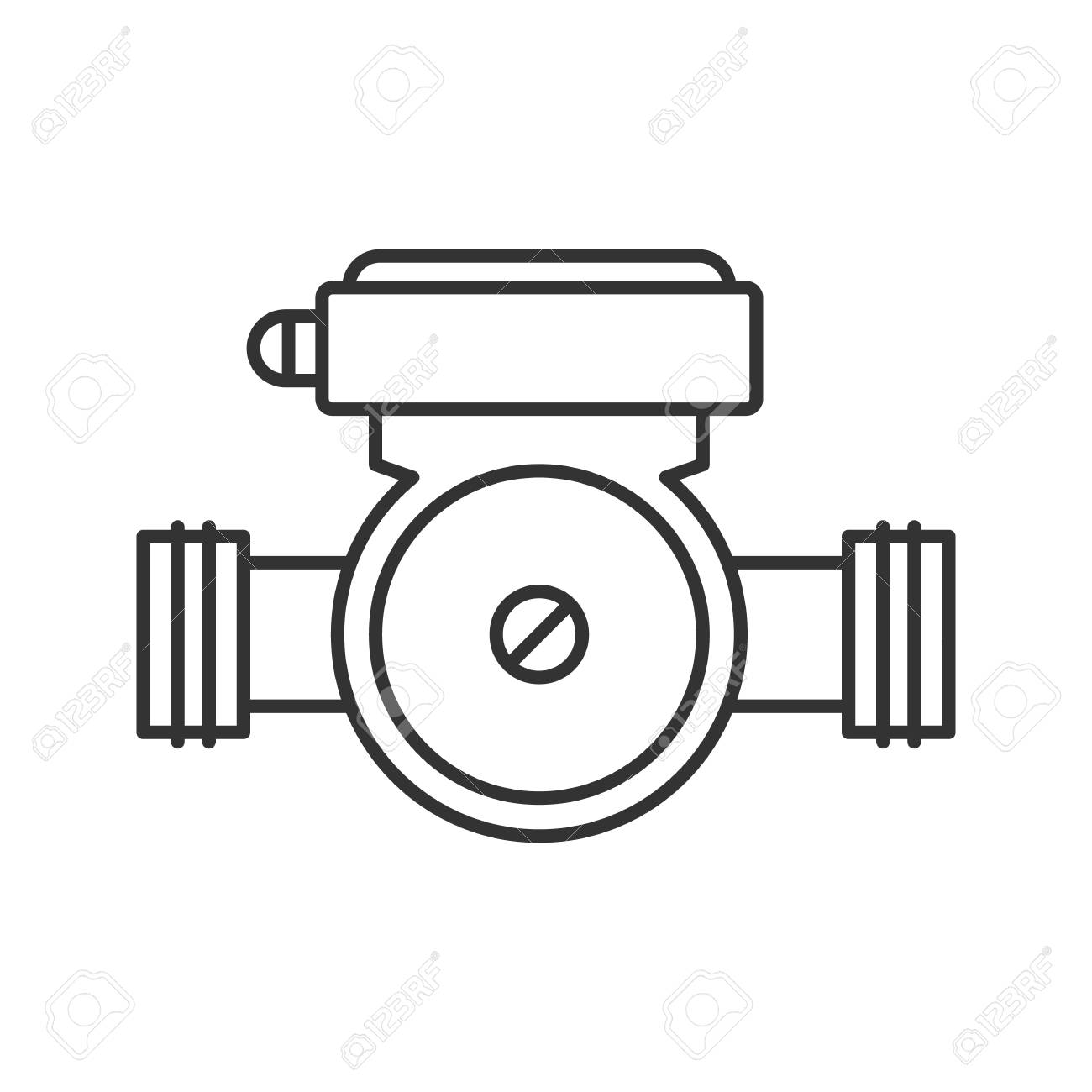 Symbol For Water Pump Franklin Electric Submersible Motor Control Wiring Diagram Linear Icon Thin Line Illustration Of Plumbing Contour