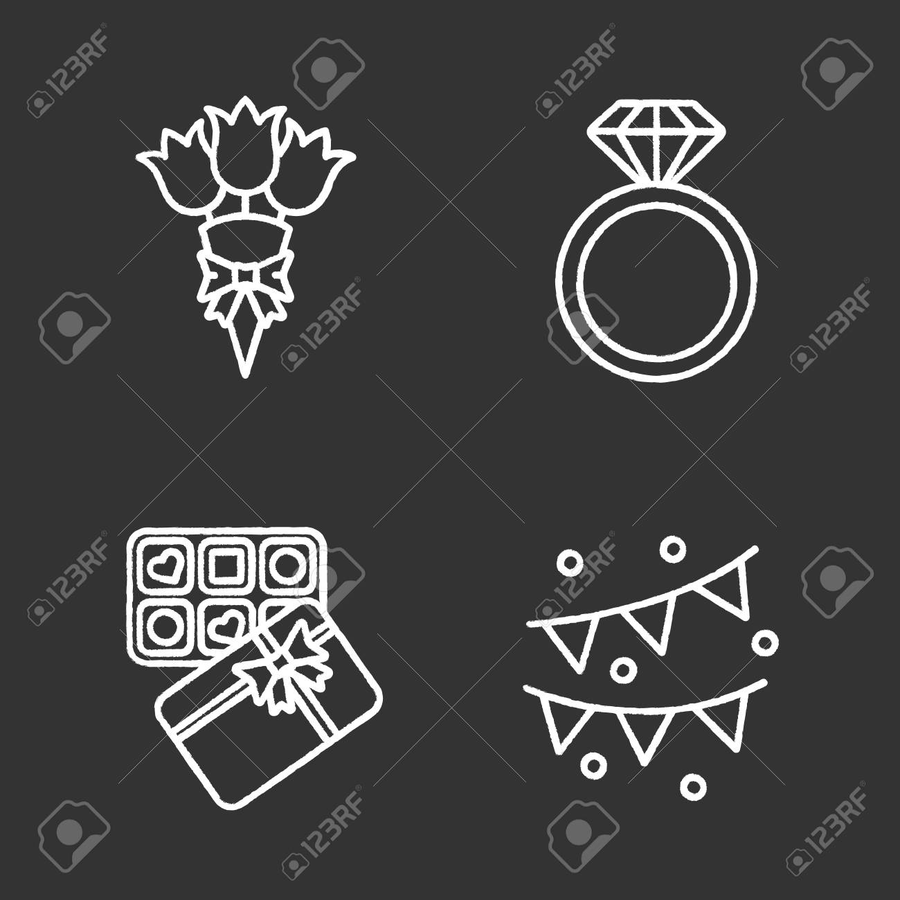 Birthday Party Accessories Chalk Icons Set Bunch Of Flowers Diamond Ring Sweets Box: Drawn Chalkboard Wedding Ring At Reisefeber.org