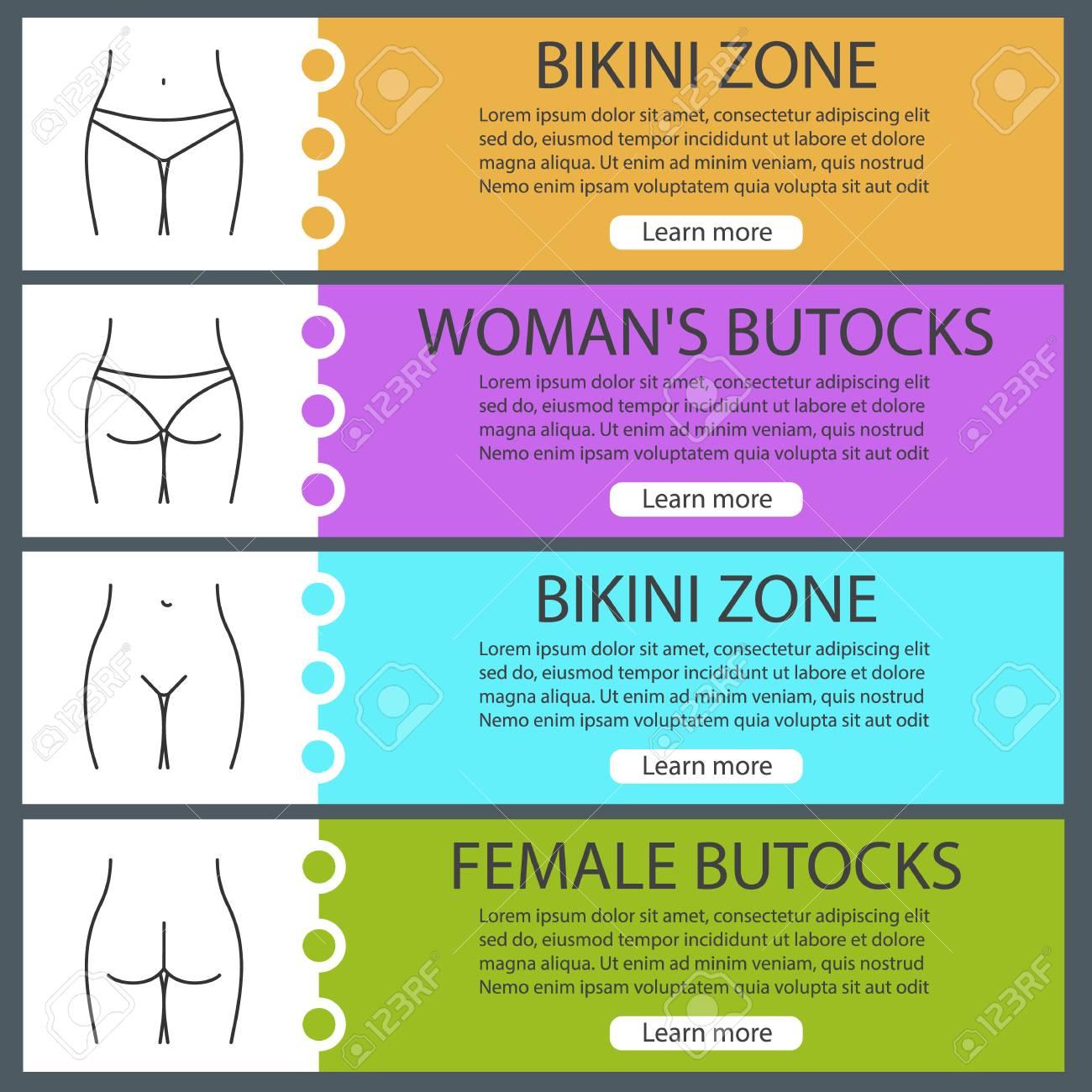 Female Body Parts Web Banner Templates Set Womans Buttocks