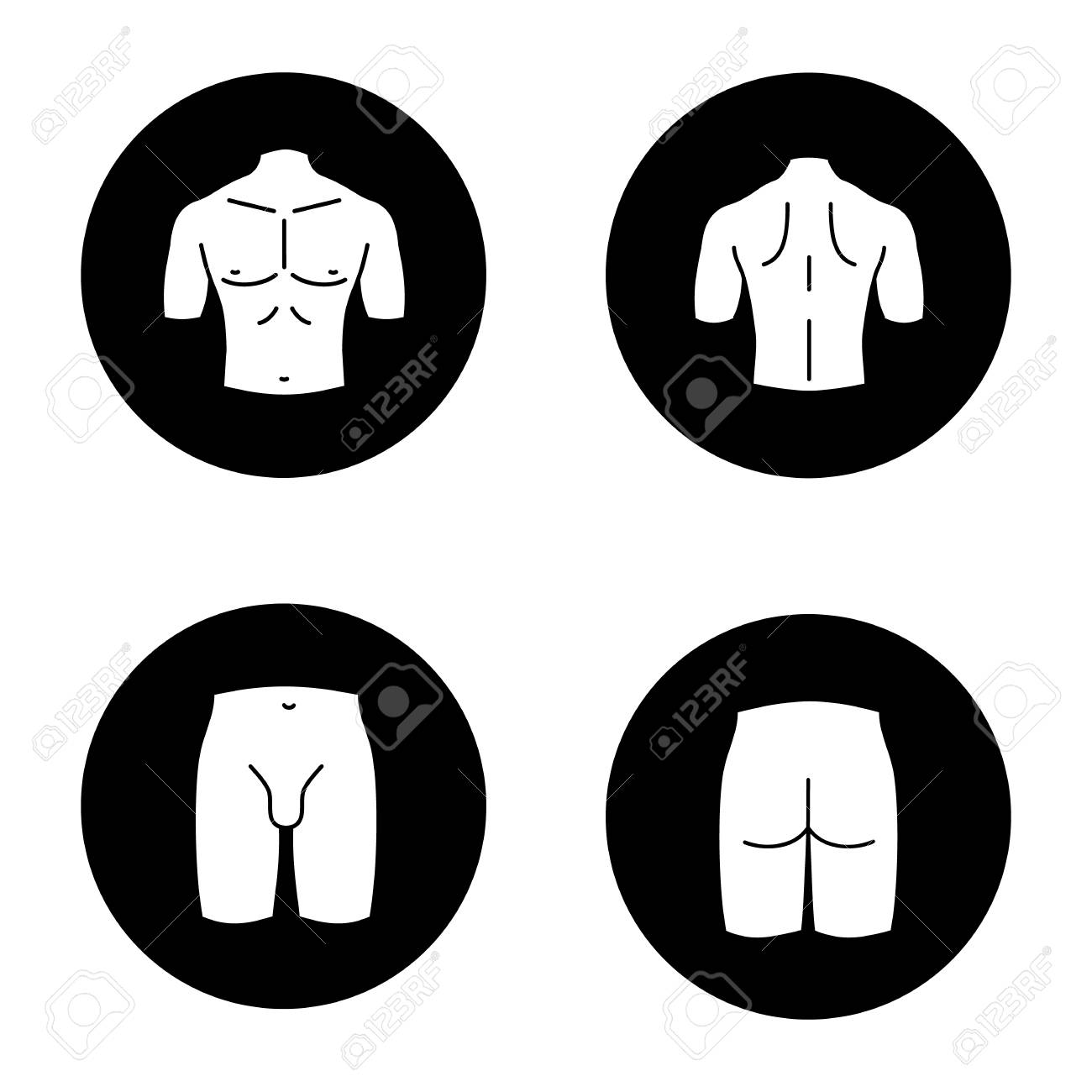 Male body parts glyph icons set. Muscular chest, back, groin, butt. Vector white silhouettes illustrations in black circles - 93566456